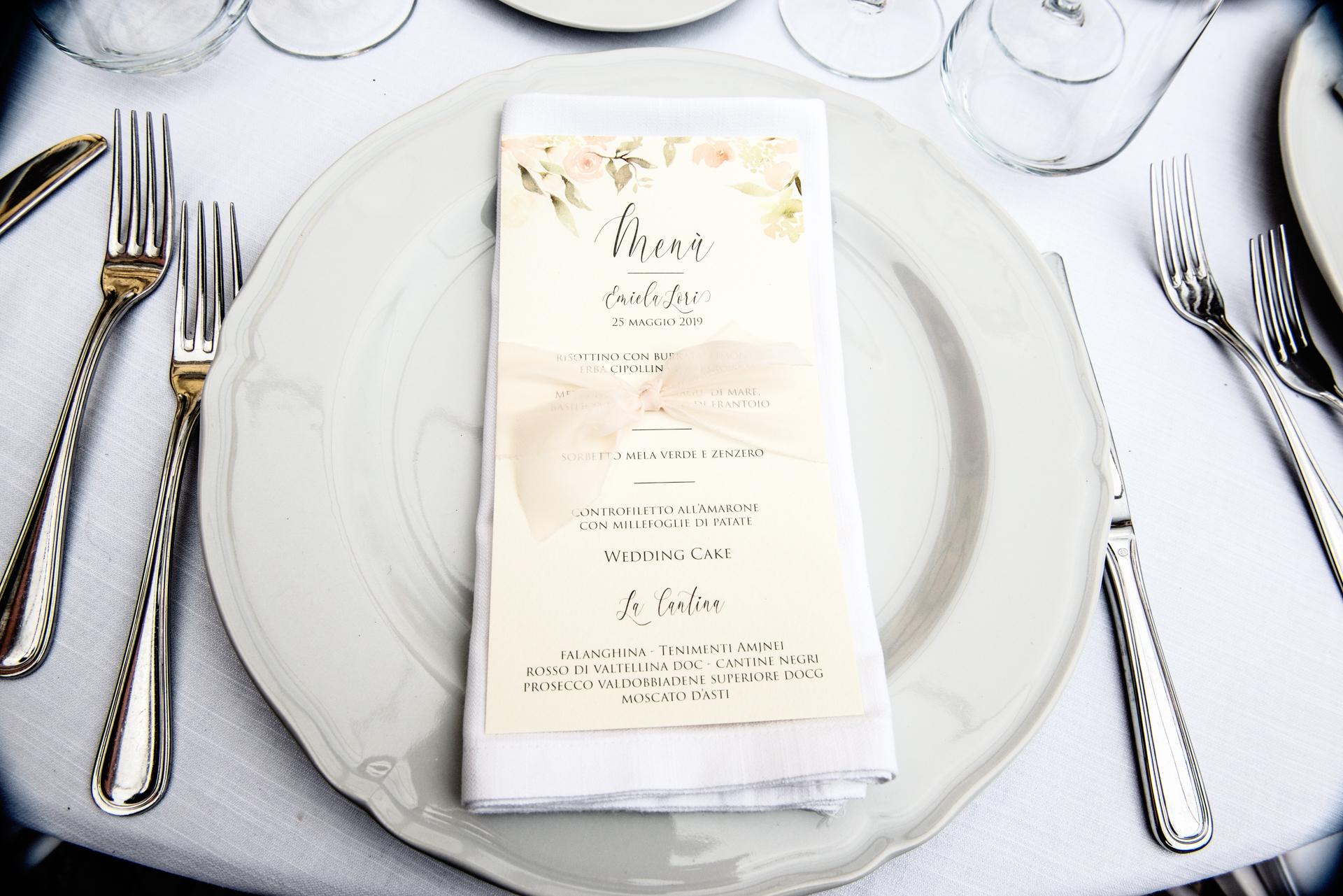 stationery menu matrimonio